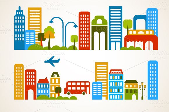 City and homes vector set by Marish on Creative Market
