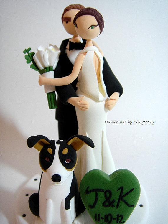 lovely couple with dog customized wedding cake topper