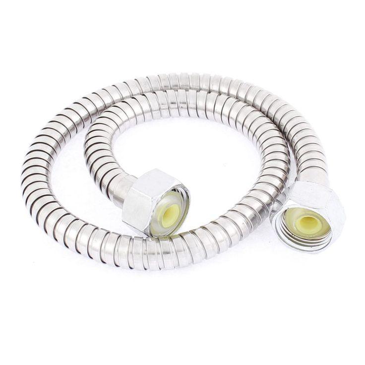 Bathroom Stainless Steel (Silver) Flexible Shower Hose Tube Pipe 1/2BSP Thread 2ft Length