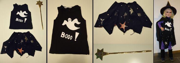 DIY halloween outfit heksje klein: rokje gemaakt van oude mannen t-shirt en blinkend papier en topje mouwen af en spookje op geflockt,toverstaf of heksenstaf: glitterpapier
