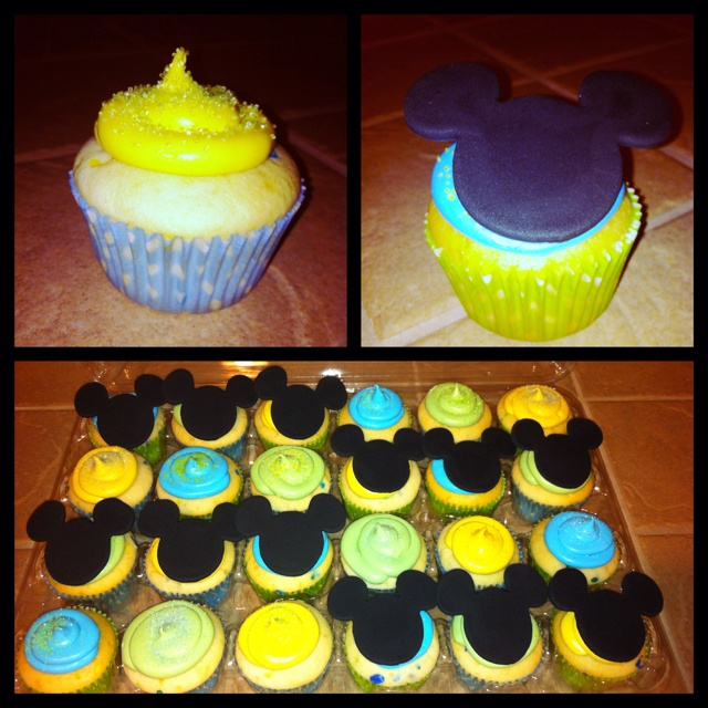 Baby Mickey Mouse themed cupcakes Mickey Mouse 1st Birthday Cupcakes
