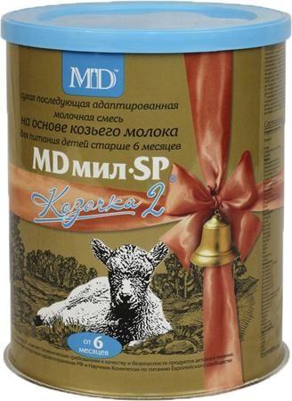 MD мил Козочка 2 от 6 месяцев 400 г  — 959р. ------------------- Молочная смесь MD мил SP Козочка 2 с 6 мес. 400 г. Сухая последующая адаптированная смесь на основе козьего молока для детей от 6 до 12 месяцев, максимально отражающая профиль грудного молока. Смесь обогащена пребиотиками, селеном, таурином, инозитолом. Рекомендуется для профилактики аллергии на белок коровьего молока и атопического дерматита. Смесь может рекомендоваться при чувствительности на белок коровьего молока. MD мил SP…