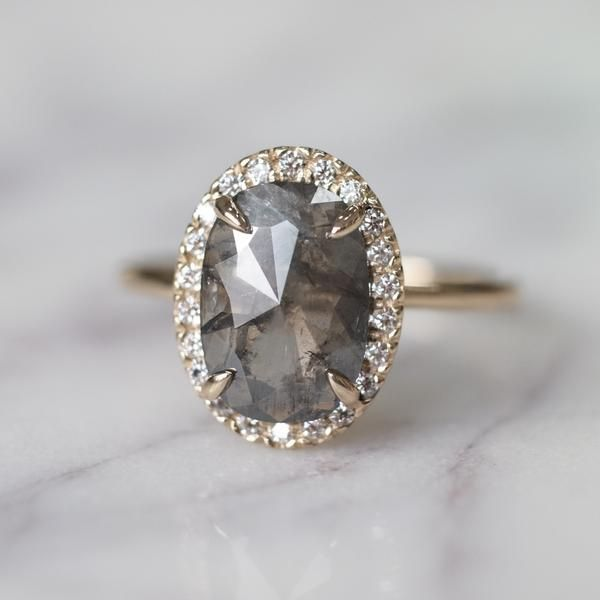 1.92 Carat Grey Oval Diamond Halo Engagement Ring, 14k Yellow Gold #UniqueEngagementRings #YellowGoldJewellery #haloring