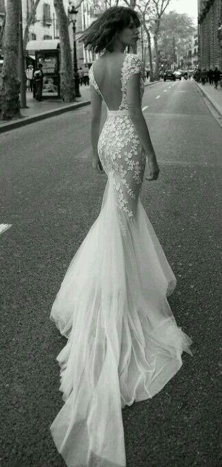 stunning backless mermaid wedding dress with cap sleeves