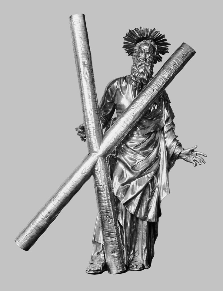 Silver statue of Saint Andrew by Hans Jakob Bair in Augsburg, ca. 1620, Andreaskirche in Düsseldorf, commissioned by Sigismund III Vasa, who also commissioned a silver altar, which was accomplished after Bair's death in 1628 by his son Hans Jakob Bair II; the statue was offered by Anna Catherine Constance Vasa to Saint Andrew's Church in Düsseldorf in 1642