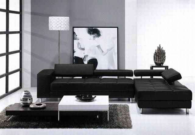Loading Black Sofa Living Room Apartment Size Furniture Leather Sectional Decor Black sectional living room ideas