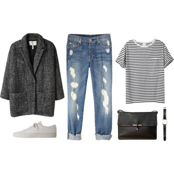 bf/mum jeans + striped tee + white plimsols