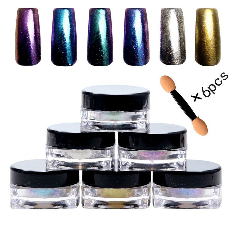 Bluezoo (6 Colors/Set) Mirror Powder Nail Art Decorations, Sequins Chrome Pigment Glitters for DIY UV Nail Art *** Continue to the product at the image link.