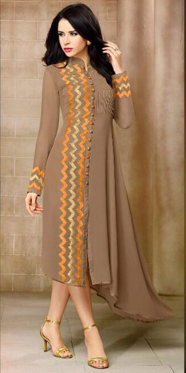 Pretty Brown Georgette Kurti.