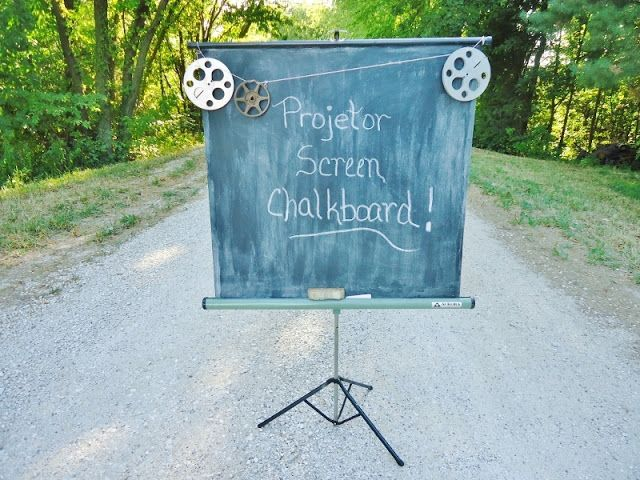 An old projector screen becomes useful again with a quick coat of chalkboard paint - perfect for outdoor events like weddings, reunions & parties (ignore the type on the chalkboard!)  ~~~via http://knickoftimeinteriors.blogspot.com/