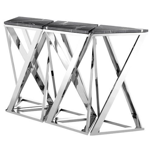 Eichholtz Galaxy Modern Classic Black Marble Silver Console Table - Set of 5 | Kathy Kuo Home