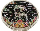 Mother of Pearl Makeup Mirror two tiger Design Cosmetic mirror Handbag Purse handheld Compact hand pocket Mirror