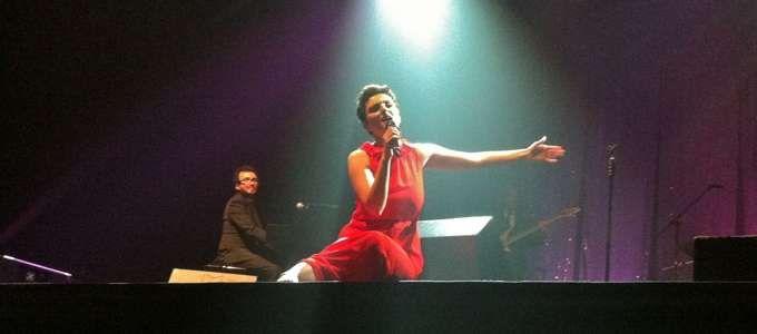 Arisa durante il concerto al Geox a Padova