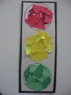 Transportation: ripped paper traffic light