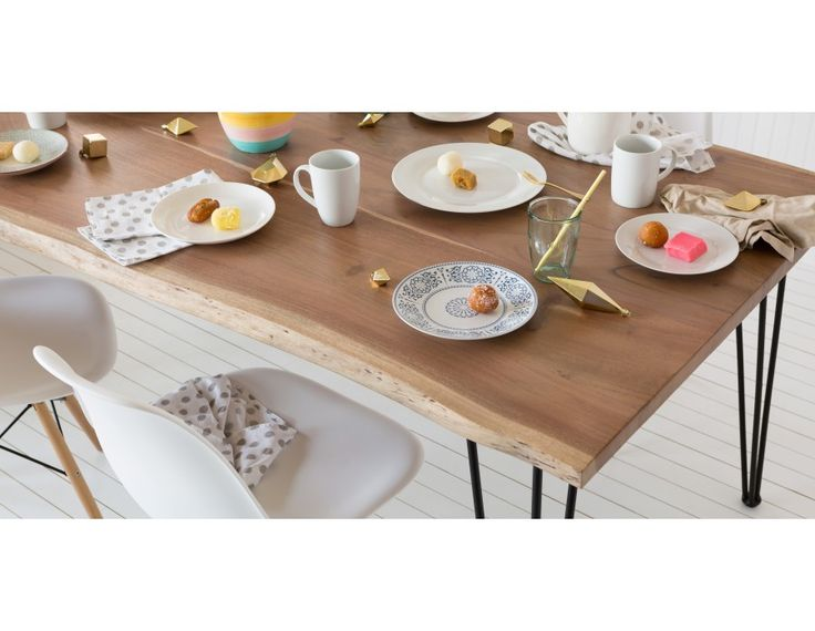 RENO - Solid acacia wood dining table 82.5'' - Natural