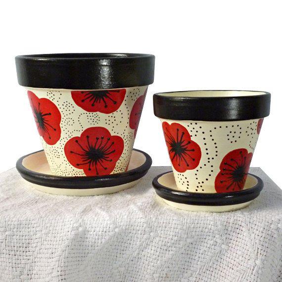 Poppy Flower Pot Planter Black Cream Ivory by MicheleCordaroDesign, $18.00