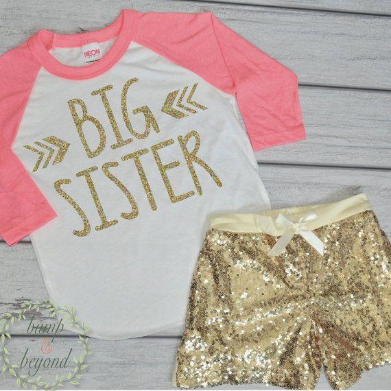 Big Sister Shirt Big Sister Announcement Outfit Raglan Shirt and Gold Sequin Shorts Big Sister Toddler Shirt Photo Prop for Siblings by BumpAndBeyondDesigns