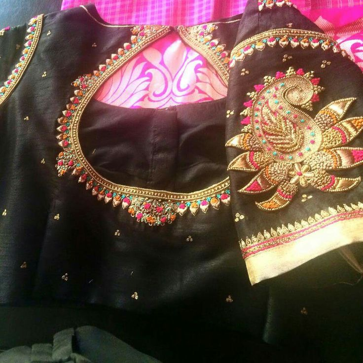 Black blouse with simple yet elegant embroidery