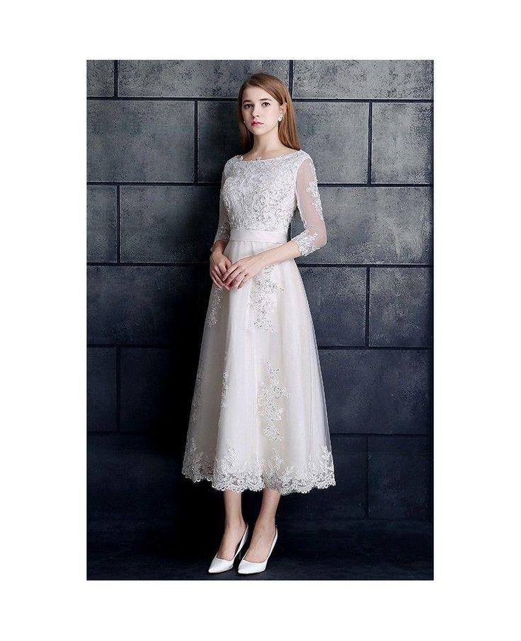 Vintage Tea Length Lace Tulle A-line White Wedding Dress 3