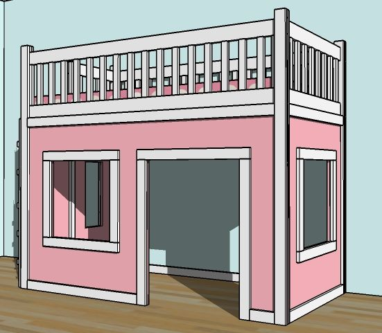 Easy Loft Bed Playhouse 551 x 481