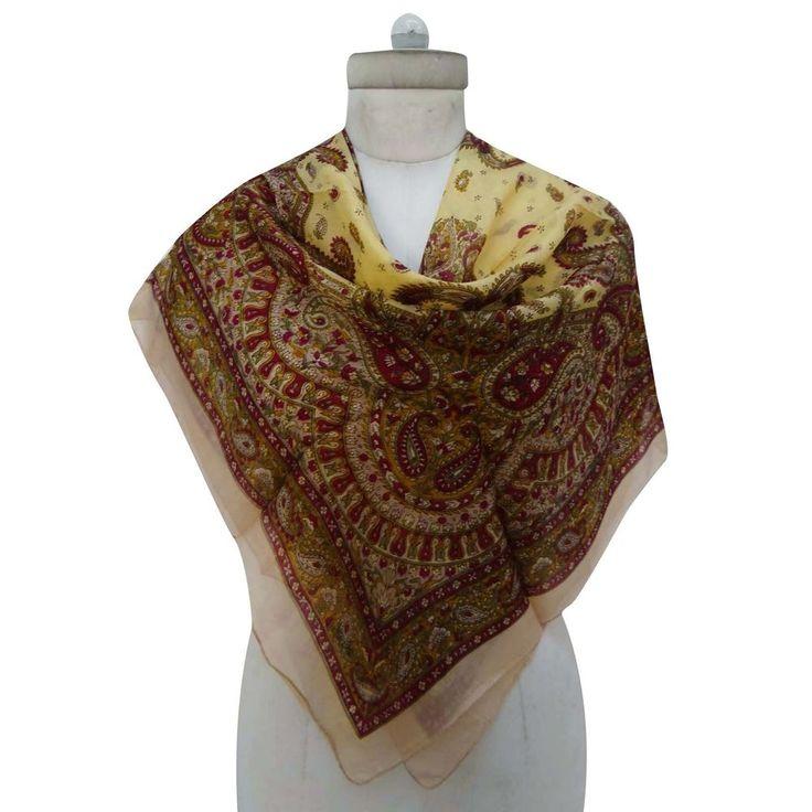 New 100% Pure Silk Scarf Square Floral Fashion Women Wrap Beige Scarves #Indianbeautifulart #ScarfShawlStoleBandana #CasualFormal