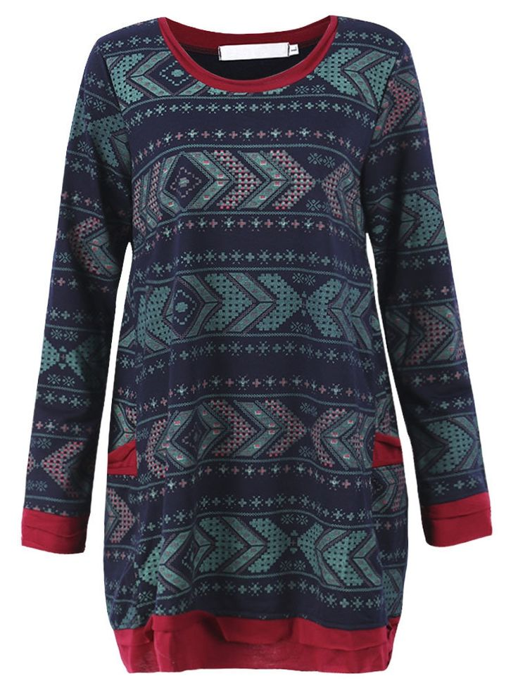 Specification    Dress Length: Knee-Length   Collar: O-Neck   Pattern: Printed,Patchwork   Material: Cotton,Polyester   Color: Navy   Sleeve Length: Long Sleeve   Style: Casual   Season: Fall,Winter