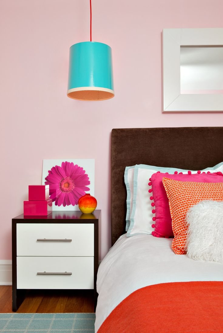 This bright and fun bedroom features pale pink walls  red and pink bedding   flower. 47 best Bright Bedding images on Pinterest   Bright bedding
