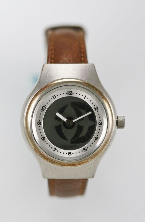Fossil Big Tic Womens Watch Stainless Silver Water Res 50m Brown Leather Quartz