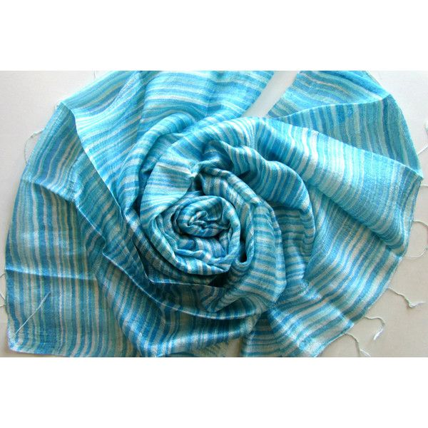 Turquoise Silk Shawl Hand Dyed Handwoven Batik Handmade Wedding Gift Wedding Accessories Light Weight Striped Shawl Natural Pure Raw Silk (€25) found on Polyvore featuring women's fashion, accessories, scarves, shawl scarves, silk shawl, pure silk scarves, lightweight scarves and turquoise shawl