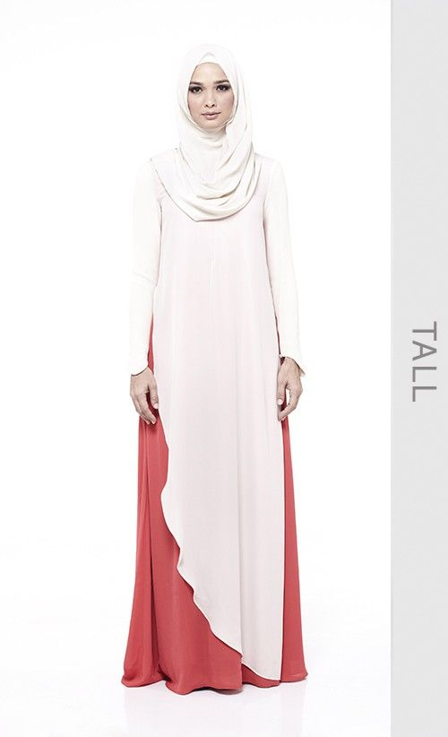 (Tall) Amanee Dress in Red Guava and Ivory | FashionValet