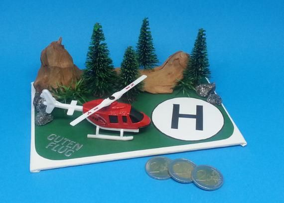 Geldgeschenk Geschenkidee 3 D Karte Hubschrauber Rundflug Hobby Pilot Earth Projects Birthday Surprise Projects