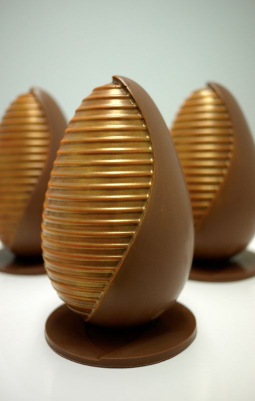 Our 2015 handcrafted chocolate easter egg painted gold