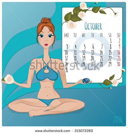 2016 new year. Calendar grid, the page for a month October. Astrological sign of the zodiac Libra. Horoscope a calendar.