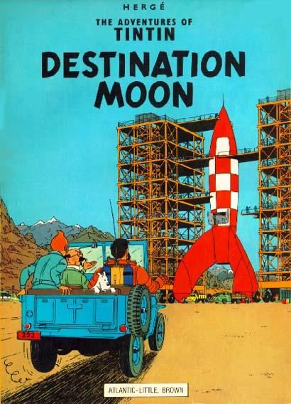 "Art by Hergé. Tintin graphic novel: ""Destination Moon"" (1953). This was followed by ""Explorers on the Moon"" (1954)."