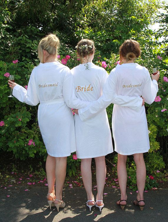 Personalised Bridesmaids Jersey Dressing Gown in White, Choose Any Text (Bride, Bridesmaid,etc)