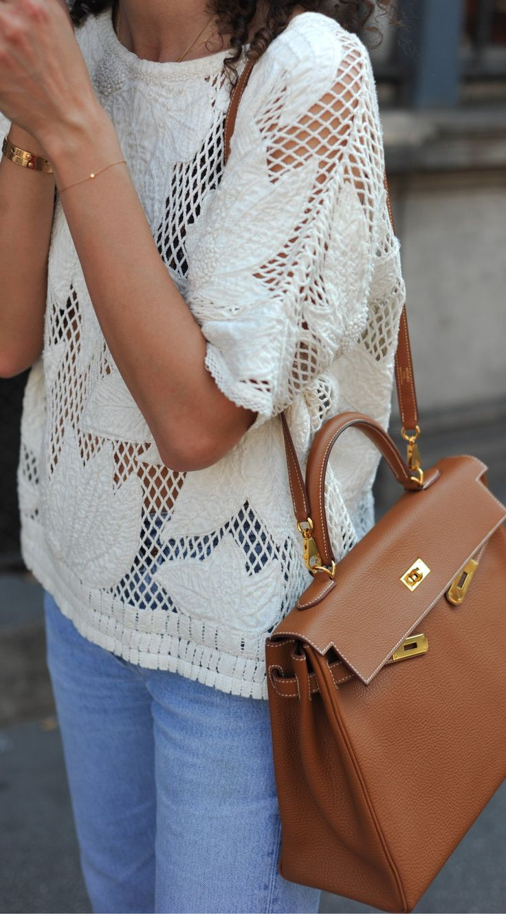 #summer #outfits White Top + Bleached Jeans + Camel Leather Shoulder Bag // Shop this exact outfit in the link