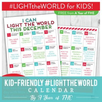#LIGHTtheWORLD - Kid-Friendly Light the World calendar by A Year of FHE