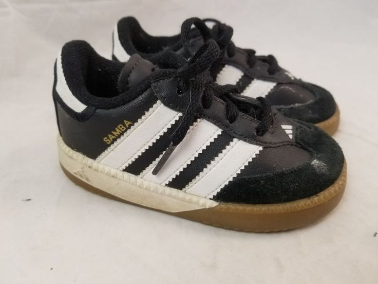 ADIDAS Samba Black Leather Suede Kids Toddler Indoor Soccer Shoes Sz 6K Punk Oi #adidas #SportsTrainers