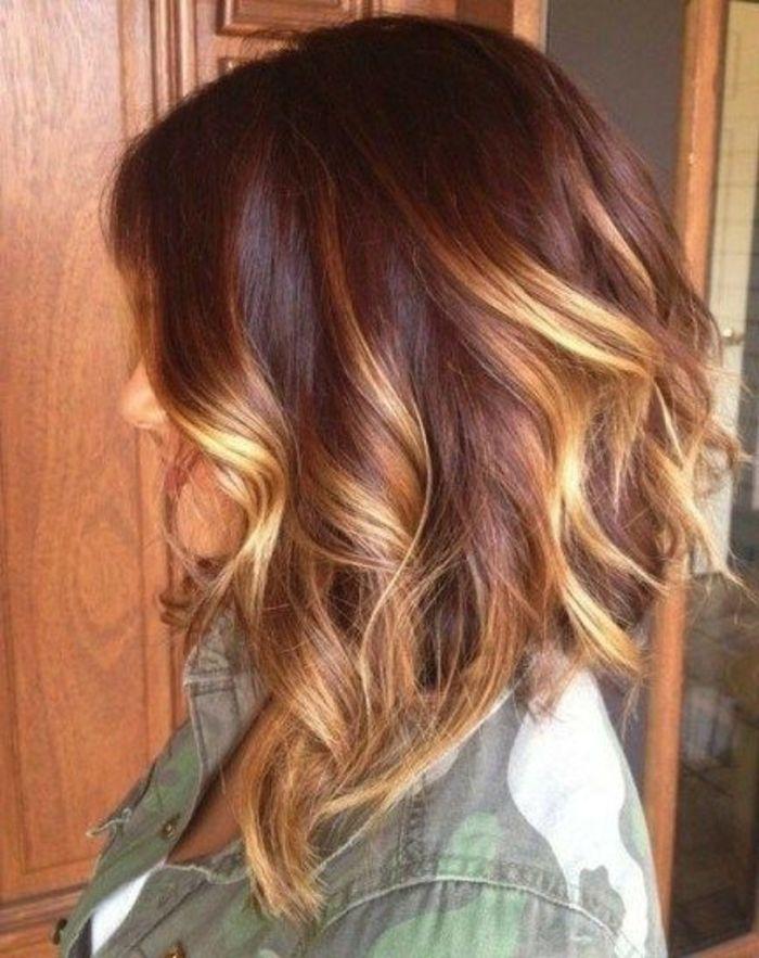 Schwarze haare braun karamel farben