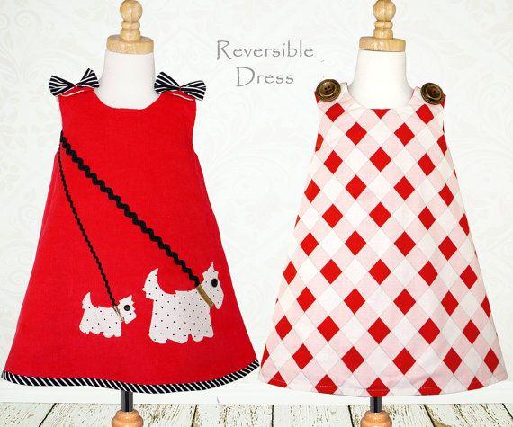 Girls dress top pattern PDF, Children's sewing pattern, girls sewing pattern, reversible infant toddler pattern, SCOTTIE