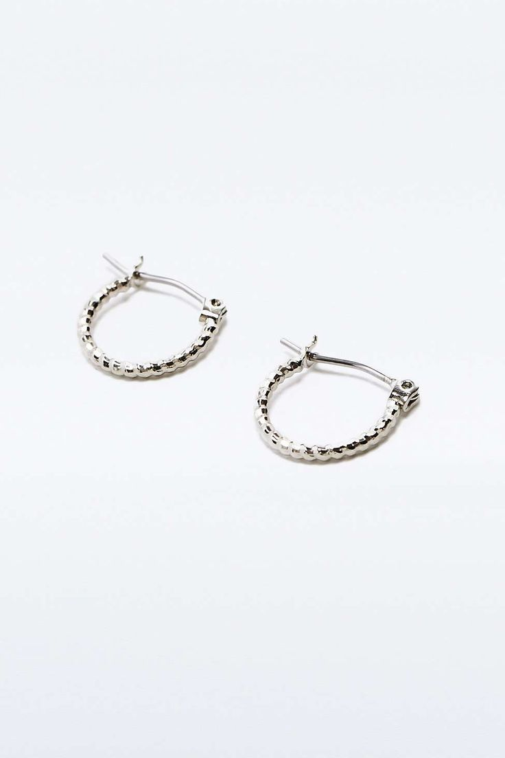 Mini Facet Silver Hoop Earrings