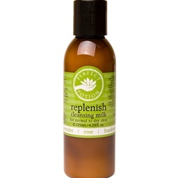 replenish cleansing milk with lavender, rose and frankincense. a must for those with normal to dry skin.