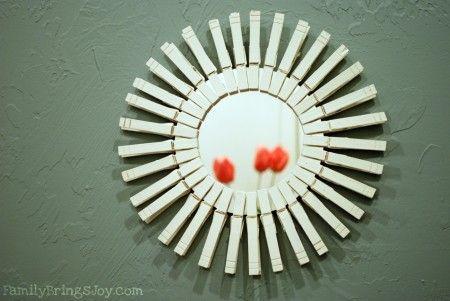 starburst clothespin mirror: Sunburst Mirror, Laundry Room