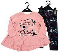 Outlet - 2set - Růžové triko s nápisem + tmavomodré květované legíny