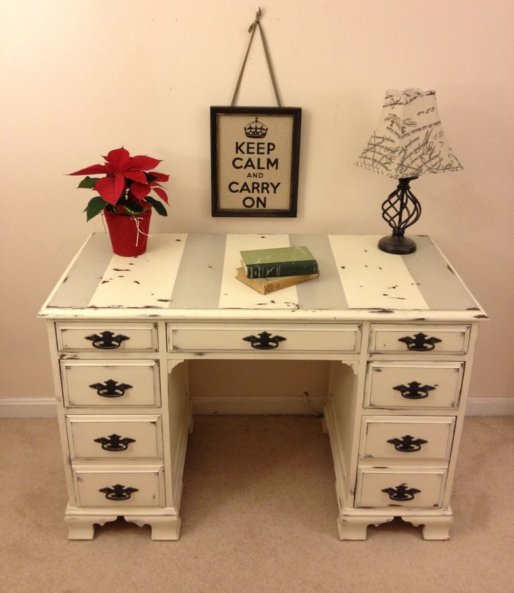 Shabby chic Annie Sloan Chalk paint desk with chippy paint by Furniture Alchemy; distressed desk, painted desk, white and grey painted furniture, rustic desk