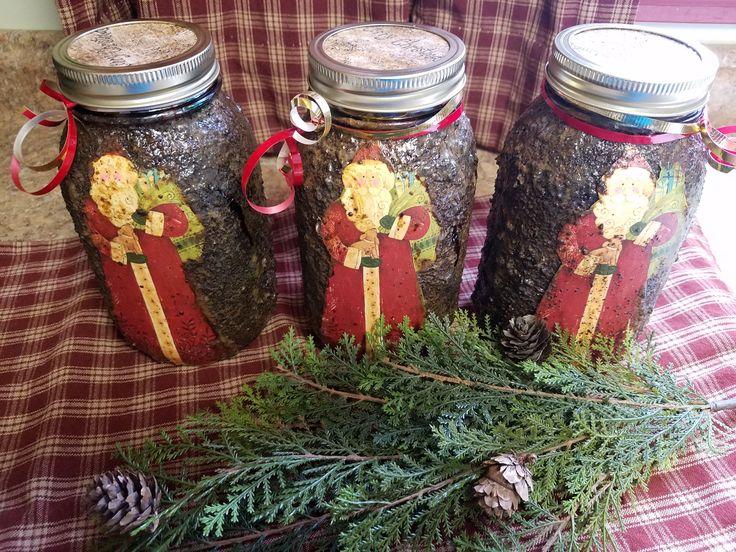 Prim Santa Gift Jars