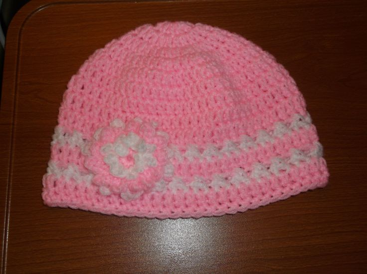 Crochet Hair Length Chart : Toddler Size Crochet Pink Hat with Flower ~ no pattern Crochet Hats ...
