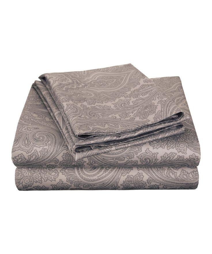 Dark Gray 600-Thread Count Italian Paisley Sheet Set