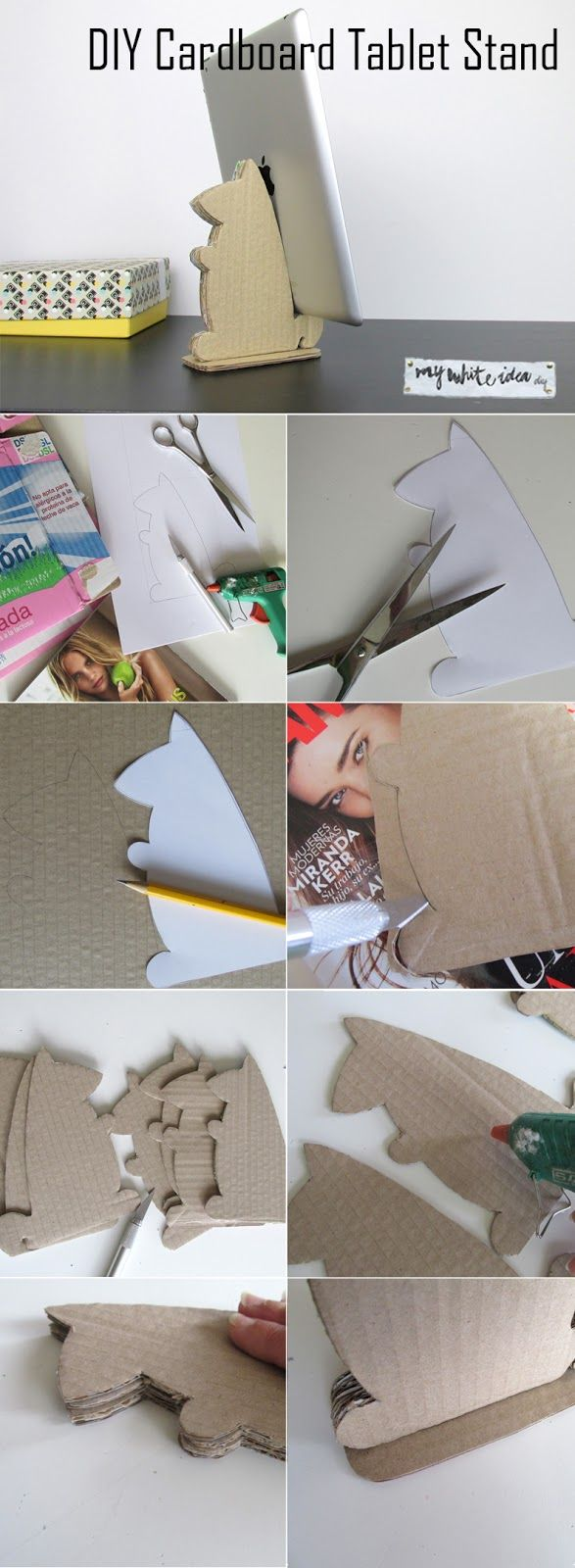 DIY Cardboard Tablet Stand | MY WHITE IDEA DIY                                                                                                                                                                                 More
