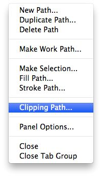 Selecting clipping path option from path palate